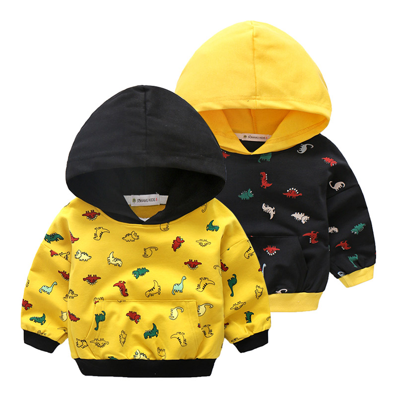 2018 Boy Spring Long Sleeve Hooded Clothes Children Dinosaur Print Sweatshirts Kids Baby Outdoor Tops Costume