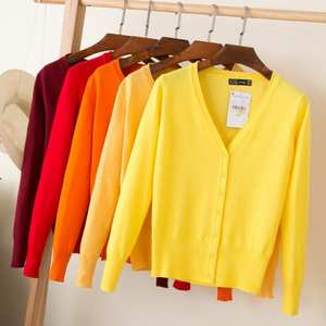 Queechalle Knitted Cardigans Coat Tops Spring Women Sweater Long-Sleeve V-Neck 28-Colors