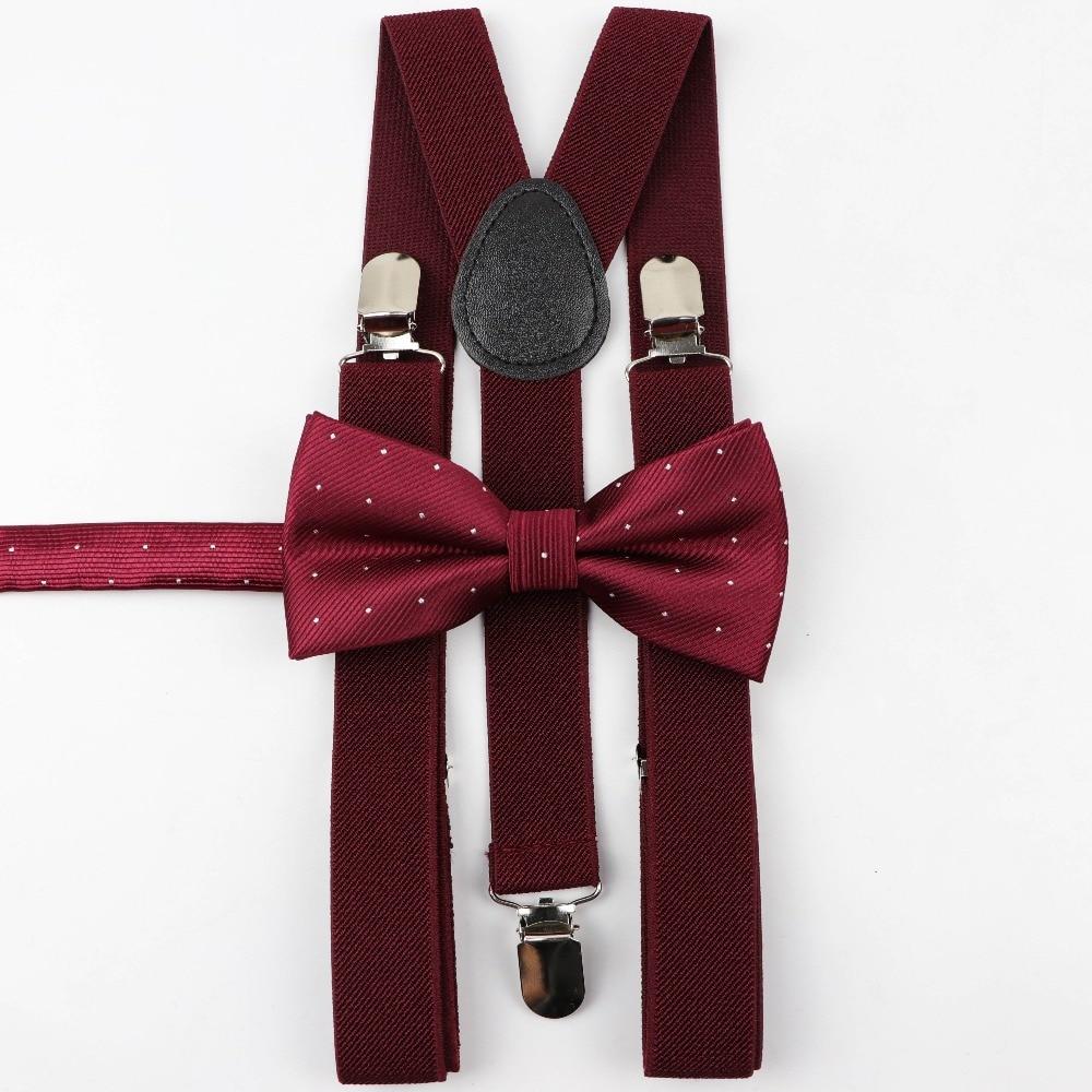 Solid Color Man's Belt Bowtie Set Men Women Suspenders Polyester Y-Back Braces Star Silver Point Bow Tie Adjustable Elastic