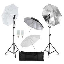 Equipamentos De Iluminação De Fotografia profissional Kit com Lâmpadas Softbox Guarda chuva Suave estande fundo Backdrops Photo Studio