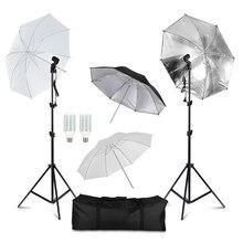 Professional การถ่ายภาพแสงอุปกรณ์ชุด Softbox ร่มพื้นหลังฉากหลังหลอดไฟ Photo Studio