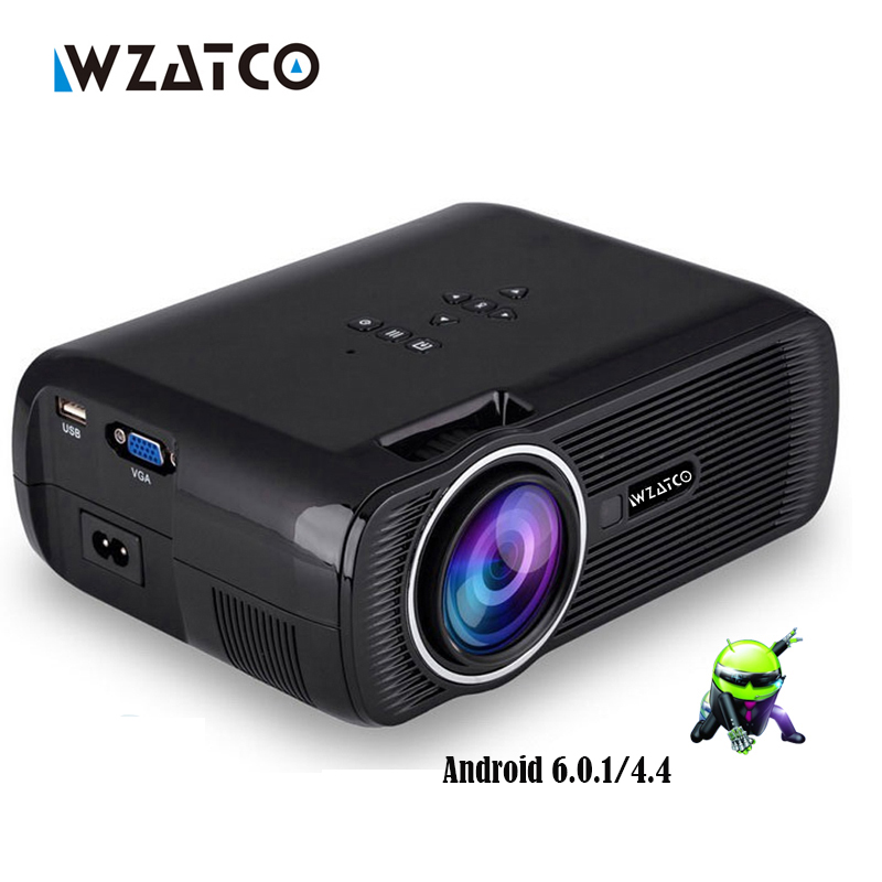 WZATCO CTL80 1800lu Portable Mini full HD 1080P TV LED 3D Projector Android 6.0 Wifi Smart Home Theater Beamer Proyector everyco телевизор samsung ue43m5550 43 дюйма smart tv full hd
