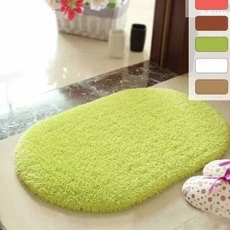 2019 40x60cm Oval Home Mat Decoration Bathroom Carpet Absorbent Soft Lamb Doormat Floor Rug Non Slip Bath Mats VC