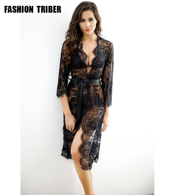 De alta calidad de nueva sexy encaje negro polvo de color diversión pijamas tentación transparente de traje de tres piezas
