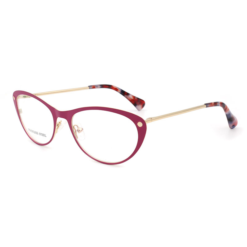 Women Cat Eye Stainless Steel High Quality Woman Eyeglasses Optical Fashion Female Eyewear Prescription Glasses Frame Spectacles
