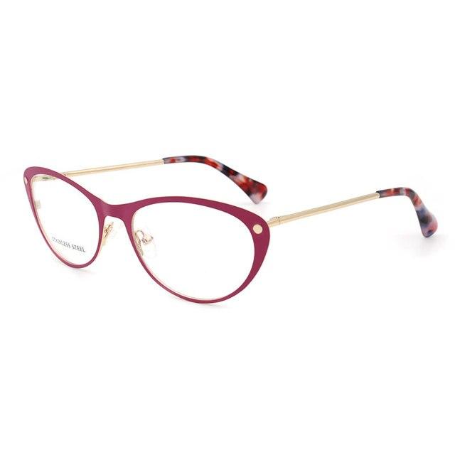 Women Cat Eye Stainless Steel High Quality Woman Eyeglasses Optical Fashion Female Eyewear Prescription Glasses Frame Spectacles