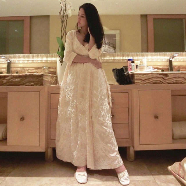 9329d7eac9d Autumn Winter Silk Nightgown Thicken Warm Velvet Pajamas Women s Princess  Long Robe Home Wear Nightdress Sleepwear Night Robe