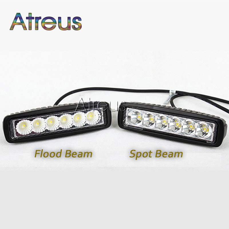 Atreus 4pcs 6Inch 18W Car LED Work Light Bar 12V Spot for Motorcycle Offroad Boat Tractor Truck 4x4 SUV ATV Car Driving Fog lamp