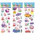 6 hoja / establece cerdo rosado pegatinas para los niños casa decoración de la pared portátil animal lindo mini 3D de la etiqueta engomada del refrigerador garabato patineta