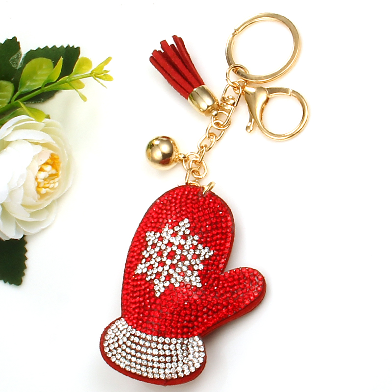 Fashion Crystal Key Ring Chains Holder Tassel Bag Buckle Santa Claus Snowman Pendant For Car Keyrings KeyChains Christmas gift