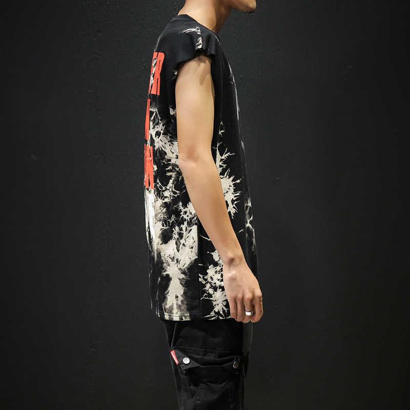Menjadi Semangat Pria Tangki Tee Top Katun Penuh Dicetak Pria Hip-Hop Skateboard Tangki High Street Asing Hal Футболка