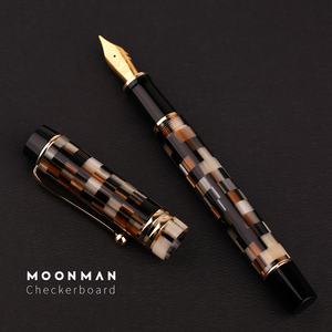 Image 3 - New Moonman M600 Celluloid Checkerboard Fountain Pen Germany Schmidt Fine Nib 0.5mm Excellent Fashion Office Writing Gift Pen