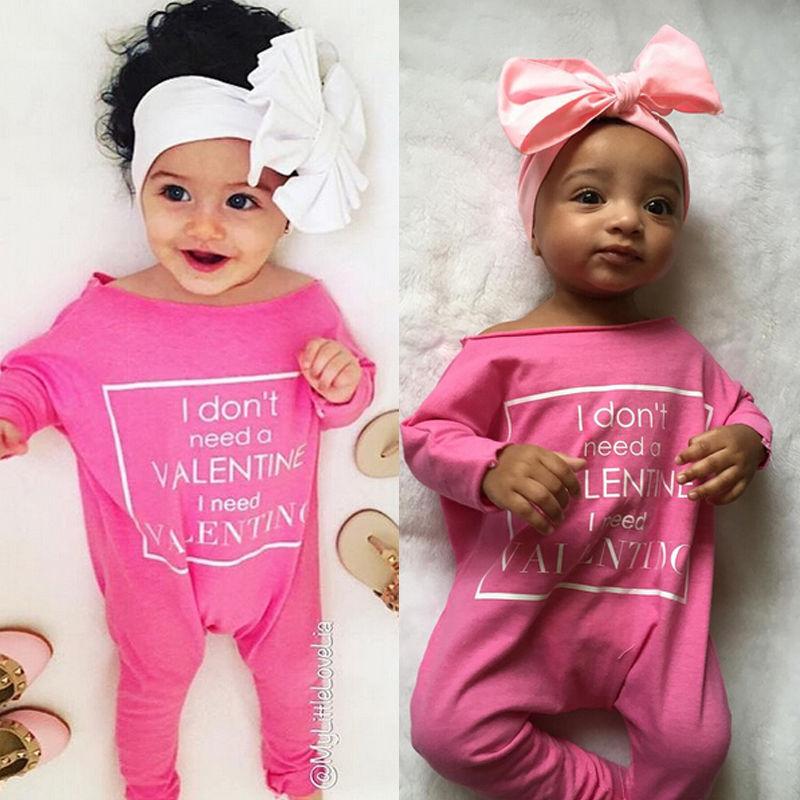 100% QualitäT Nette Neugeborene Baby Mädchen Romper Langarm Valentines Tag Outfits