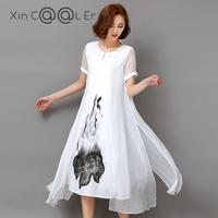 2016 Summer White Ink Print China Style Women Long Dress Retro Short Sleeve Cotton Linen Designs