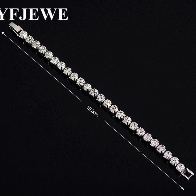 Luxury silver-Color Chain Link Bracelet for Women Wedding Bangle Shining Clear AAA Cubic Zircon Crystal Jewelry B100