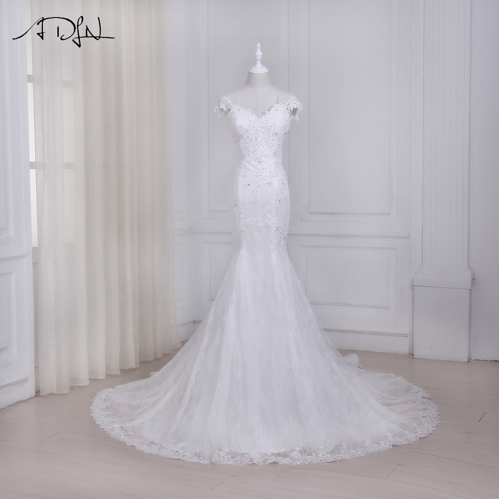 ADLN 2017 Mermaid Wedding Dresses Vestido De Noiva New Arrival Cap Sleeve Beaded Sequins Lace Wedding Gowns Court Train