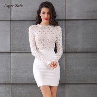 Leger Babe New Arrivals Winter Bandage Dress White Women Bandage Dresses Bodycon Party Dresses Long Sleeve Plaid Metal Studded