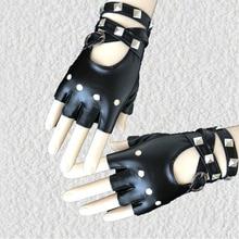 1 пара перчаток на пол пальца из искусственной кожи в стиле рок, панк, с заклепками, без пальцев, мотоциклетные перчатки WML99