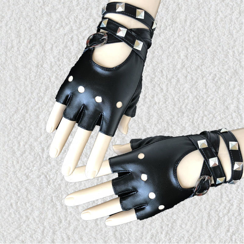 1 Pair Half Finger PU Leather Gloves Rock Punk Style Rivet Fingerless Motorcycle Gloves WML99