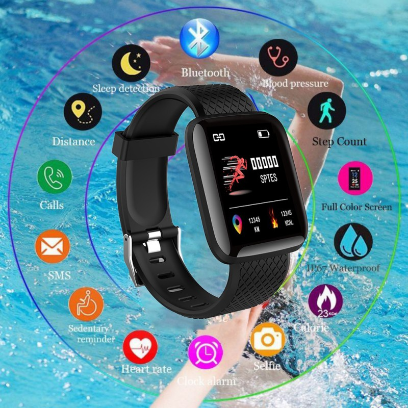 116plus Color Screen Smart Wristband D13 Real-time Heart Rate Large Screen Blood Pressure Sleep IP67 Waterproof Watch Pedometer