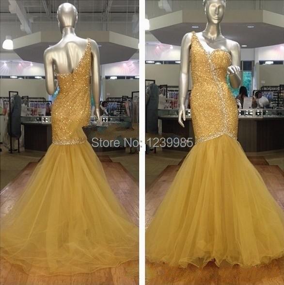 Lange gele jurk