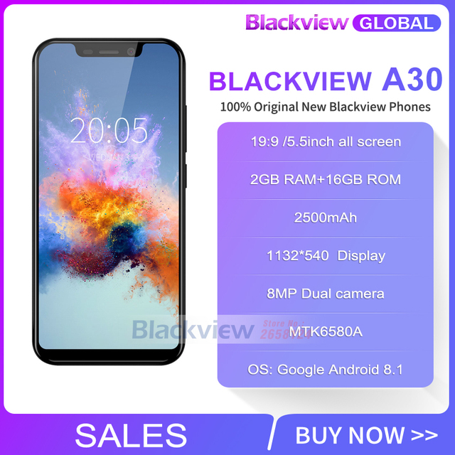 Blackview A30 Smartphone 19:9 ALL screen 2500mAh 5.5 inch Android 8.1 dual Camera 2GB RAM 16GB ROM MT6350A  3G Mobile phone
