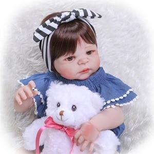 "Image 5 - NPK 57 ס""מ מלא סיליקון גוף Reborn בובת תינוק מציאותי בעבודת יד ויניל מקסים כמו בחיים פעוט Bebe באמת ילדים למשחק צעצועים"