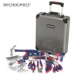 WORKPRO 111 قطعة أداة مجموعة أداة اليد كيت عربة ألمونيوم صندوق أدوات الحقيبة مجموعة طقم تصليح المنزل أداة مجموعة