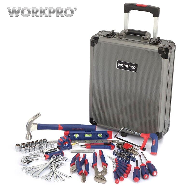 WORKPRO 111 pz Tool Set Kit di Attrezzi A Mano Trolley In Alluminio Caso Tool Box Set Kit di Riparazione Set di Strumenti di Casa