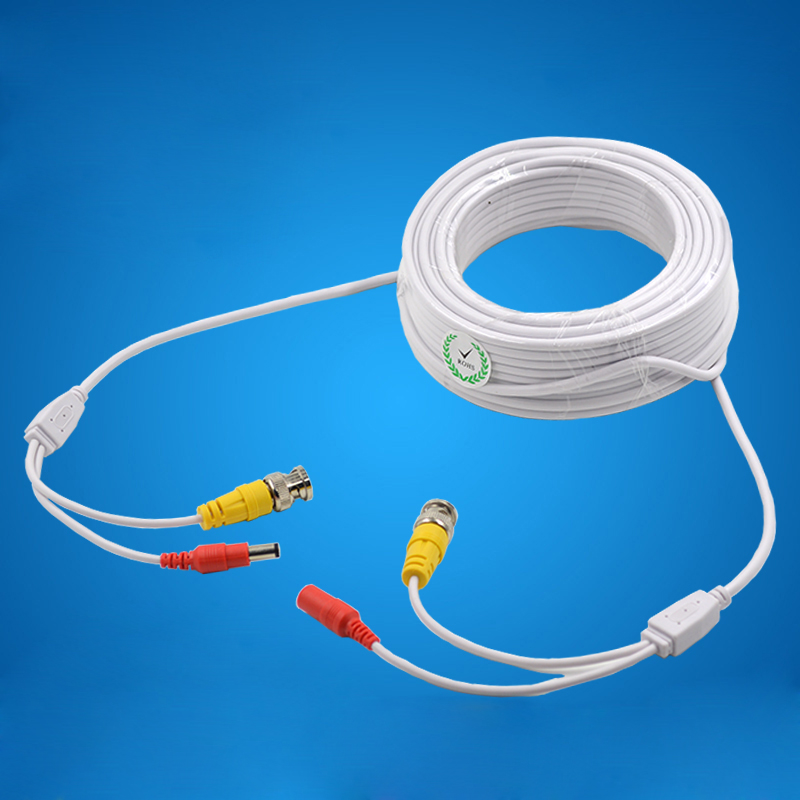 Monitor Power Video Cable Connector Video Power Supply Integrated Monitoring Line 12V DC + BNC Line White 10M 15M 20M