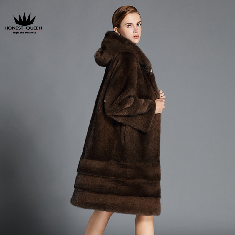 Danish velvet brown mink fur coat women with cap natural real high ...