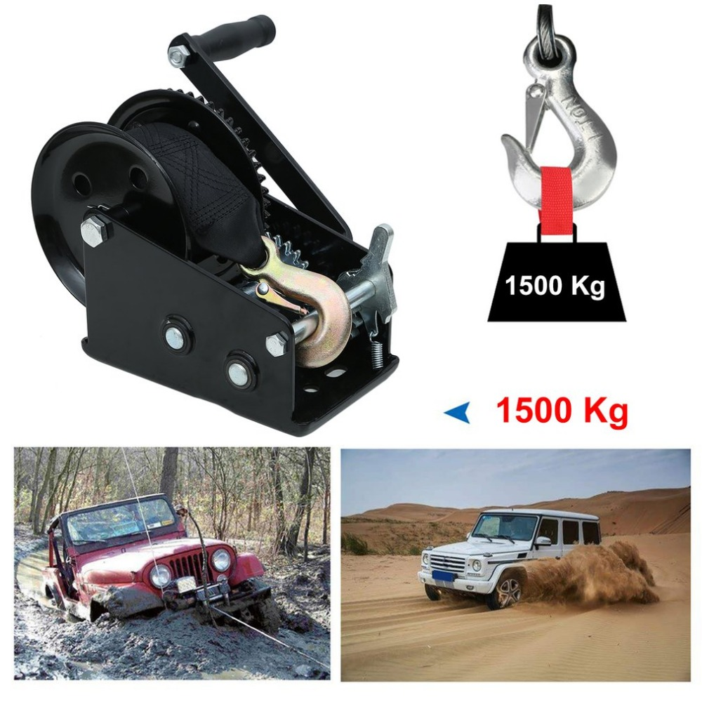 Newest Professional Manual Winch With Strap 1500kg 8 Meters Boat Trailer Lifting Sling Universal Car Hand Power Puller professional manual winch with strap 1500kg 8 meters boat trailer lifting sling universal car hand power puller new