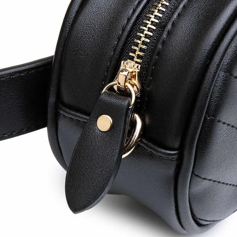 Mihaivina ファッション女性波線ウエストベルトバッグ革円形胸小さな女性ポーチバッグ旅行バッグウエストパック