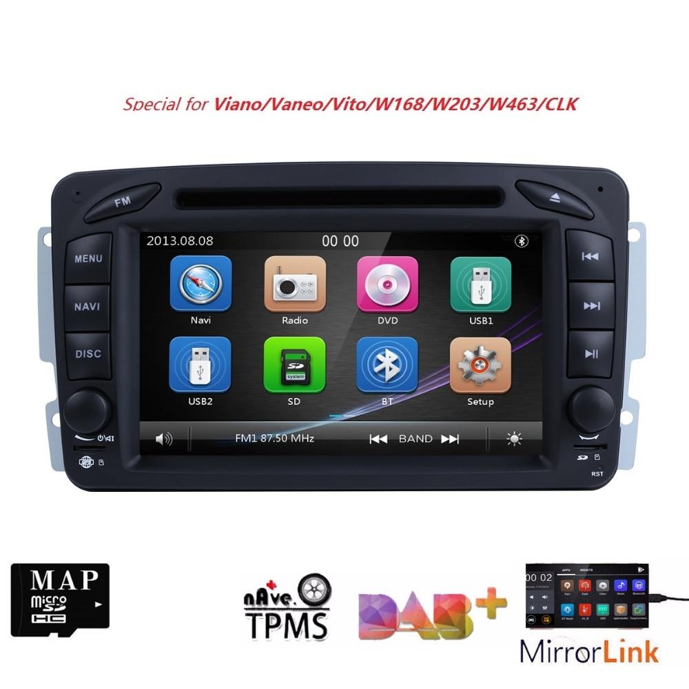 Free Shipping HD 7 Touch Screen Car DVD Player for Benz W203 W208 W209 W463 Vito Viano Autoradio GPS Navigation MirrorLink DAB+