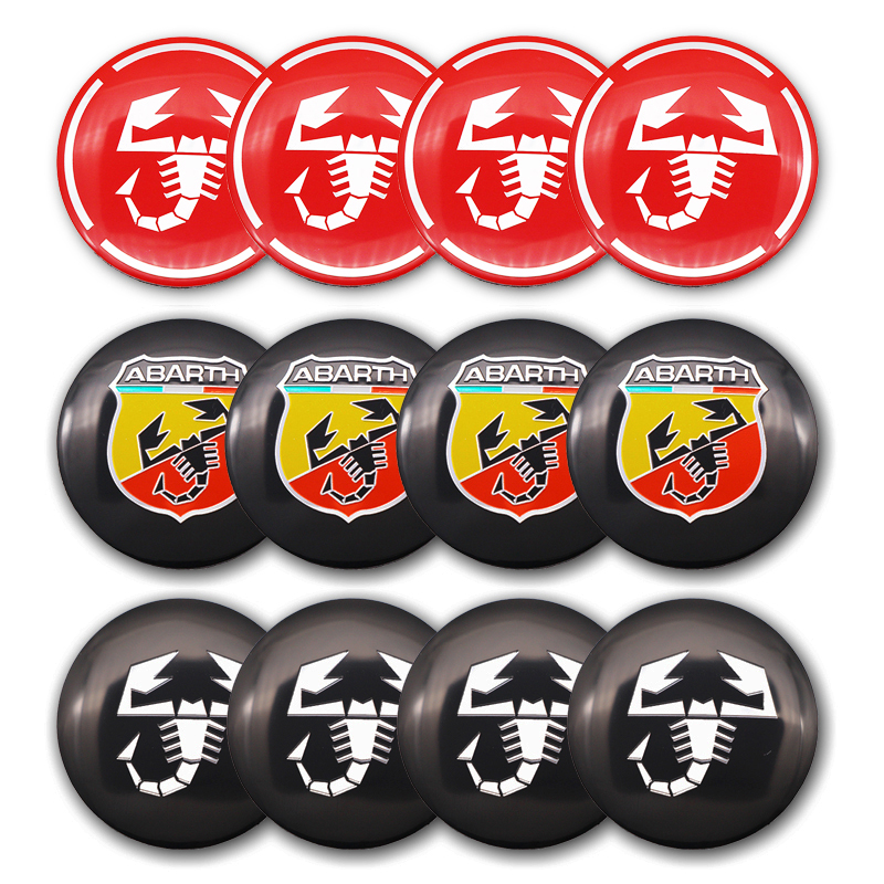 4pcs 56mm Abarth Scorpion Logo Car Emblem Wheel Center Wheel Sticker Hub Cap Auto Rim Badge Refit Decoration Sticker Car Styling