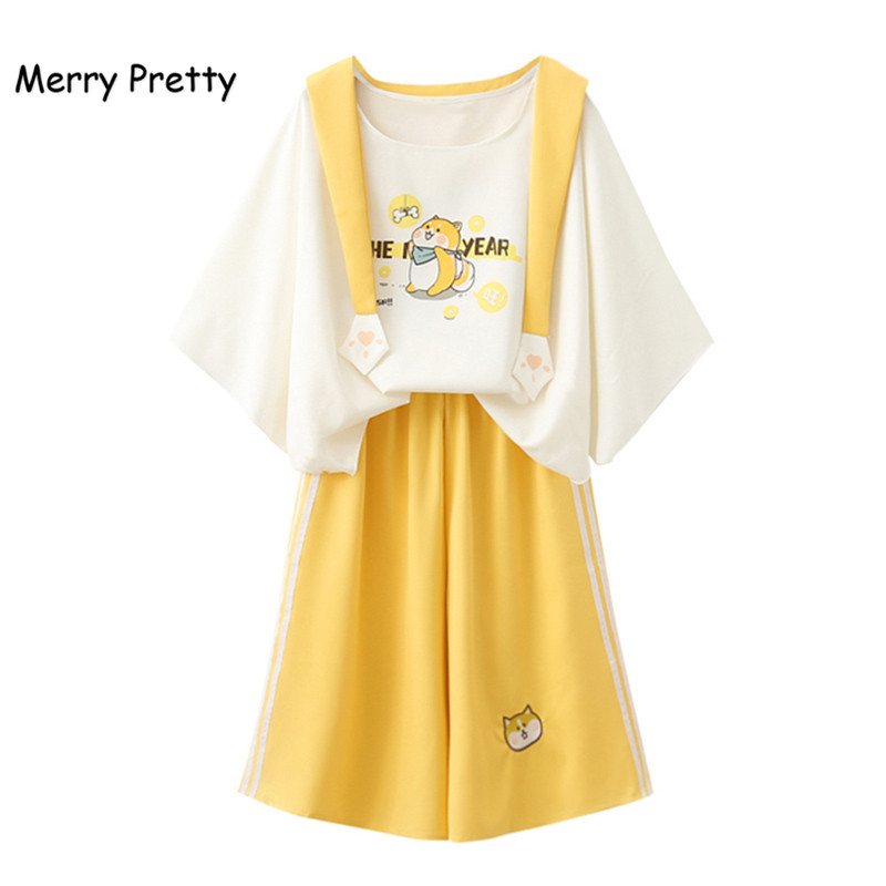 Merry Pretty Harajuku Sailor Collar Sweet White T-shirt Yellow Wide Leg Pants 2 Piece Set Women Spring Summer Clothing Set Girl