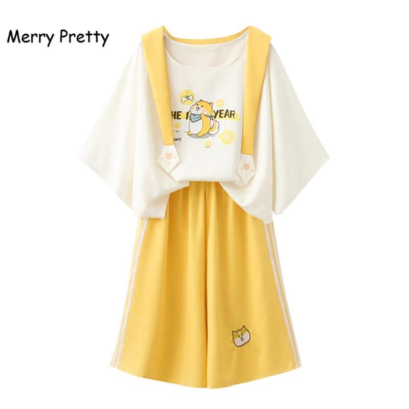 Merry Pretty Harajuku Sailor Collar Sweet White T-shirt Yellow Wide Leg Pants 2 Piece Set Women Spring Summer Clothing Set Girl