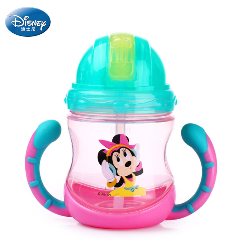 Baby straw bottle with handle Disney Mickey <font><b>Minnie</b></font> feeding <font><b>cups</b></font> milk <font><b>cup</b></font> with straw for kids drinking water BPA free PP copos