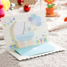 10pcs/Set Light Blue 3D Carton Bear Baby Shower Invitation Cards with Ribbon For Baby Full Moon Party Invitation Card P15