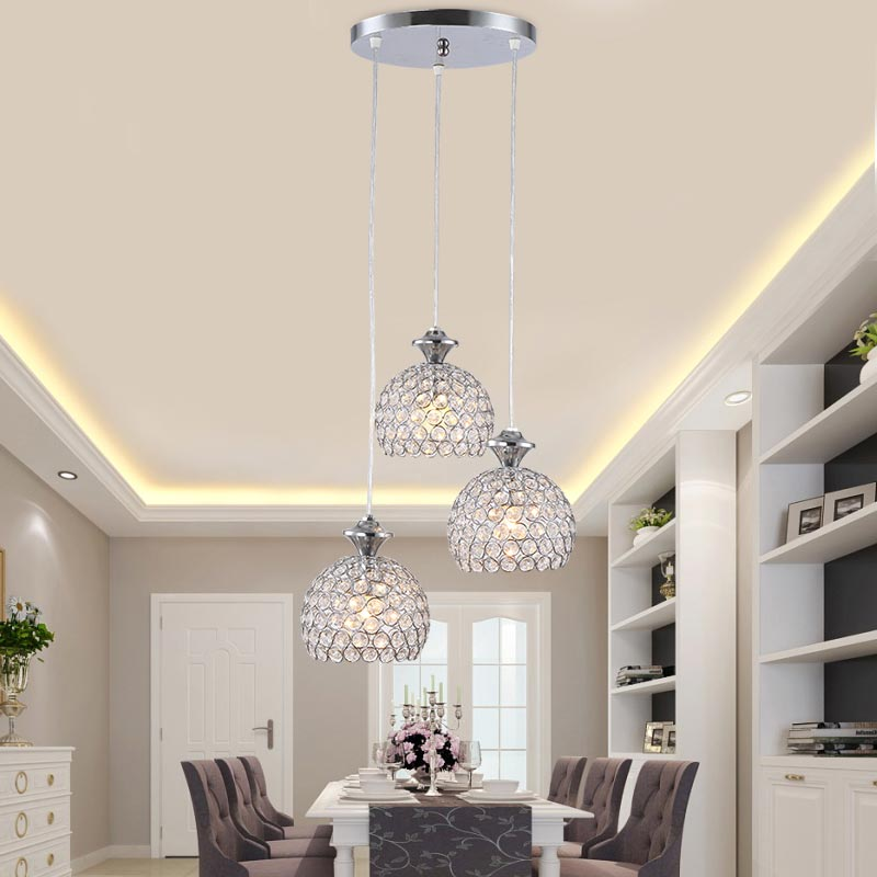 Modern Crystal Pendant Light Fixtures Restaurant Kitchen Dining Room Hanging Lamp Chrome Iron E27 220V For