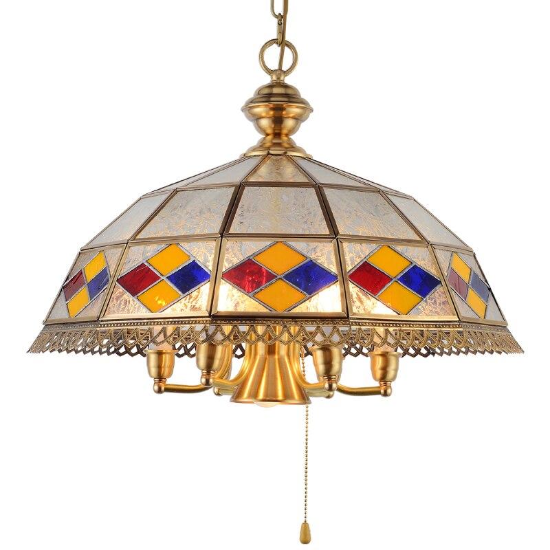 Европейский Chateau обеденный Ретро Юго Восточной Азии латунь многоцветный Стекло подвесной светильник пастырской средиземноморской za626 zl155