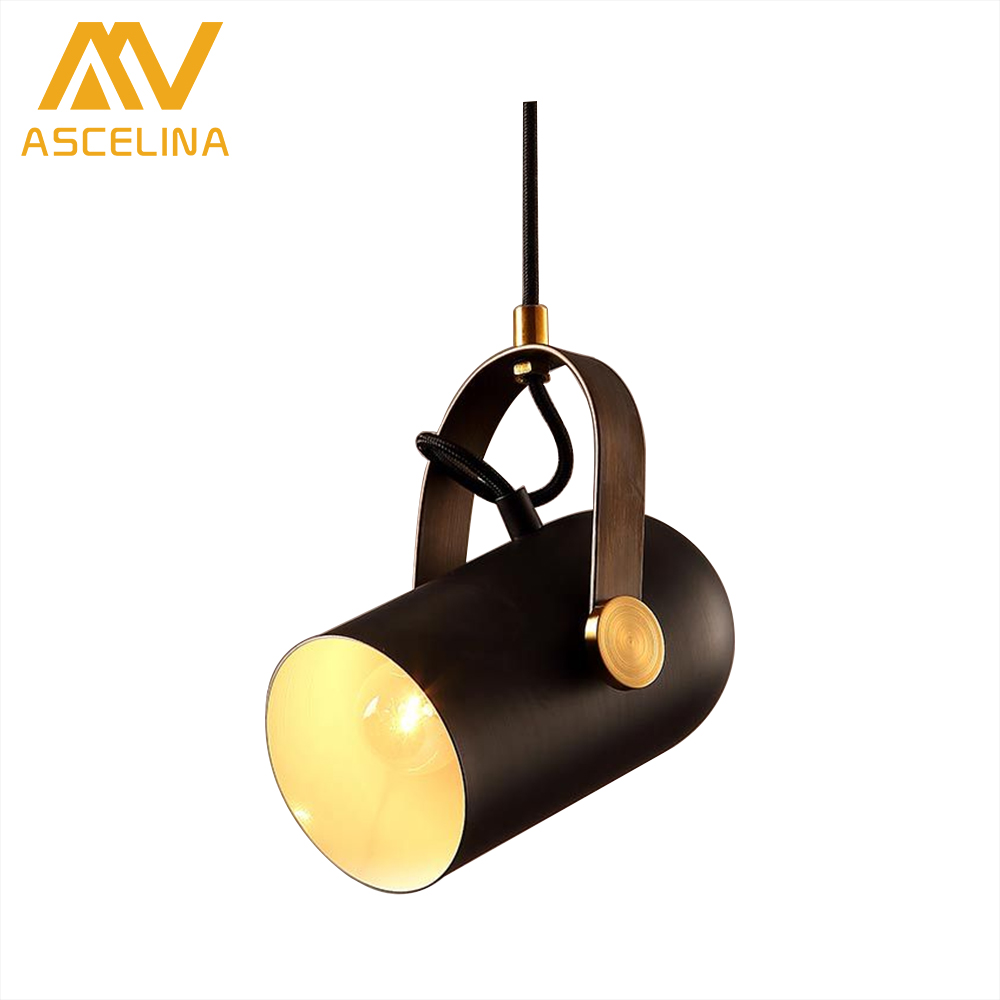 ASCELINA loft pendant light vintage lamp industrial lampen for decor ledlight fixture kitchen lamps for living room e27 85-260V ascelina led pendant lights loft style industrial lighting vintage hanglamp with lamp shade for living room e27 85 260v