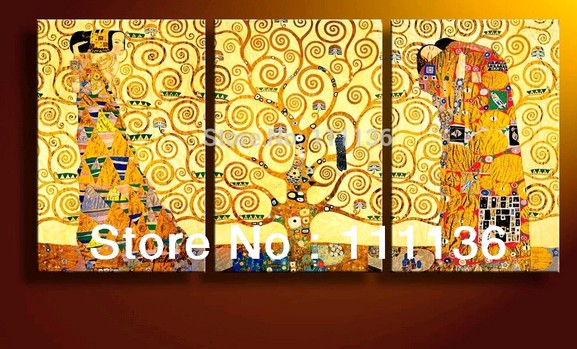 100% handmade repro oil painting canvas Tree life & Kiss fullment Gustav Klimt Art home decoration - Oil Painting Deco shop store