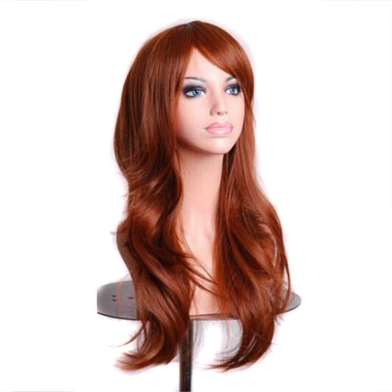 Soowee 70 см волнистые красные парики Поддельные шиньоны синтетические волосы черный фиолетовый розовый синий косплей парик для женщин