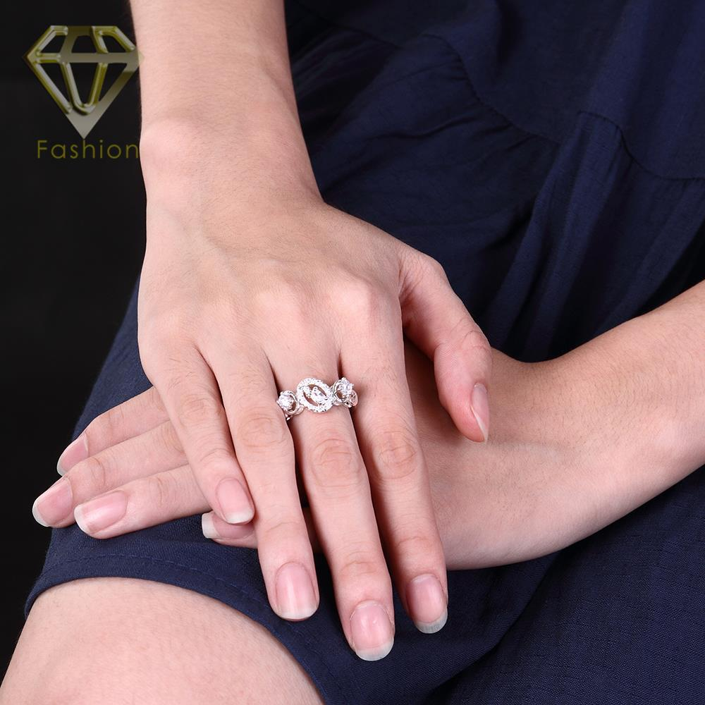 Three Stone Engagement Rings 3 Color Styles Luxury Design Silver ...