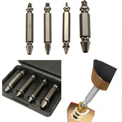 4PCS / Set Juego de brocas de acero aleado Extractor de pernos rotos Extractor de tornillos con doble lado dañado Kit de herramientas eléctricas 1 # 2 # 3 # 4 # El mejor