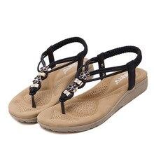2017 nueva marca Mujeres Bohe SIKETU Rhinestone de La Manera Plana de Gran Tamaño Casual Zapatos Sandalias de Playa de regalo al por mayor A1000