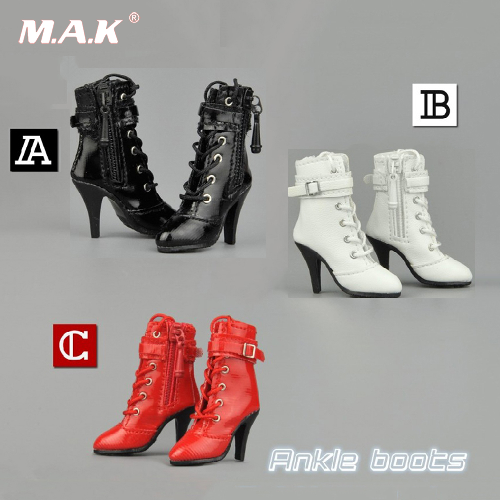 1/6 High Heeled Shoes Female Ankle Boots Middle Tube Zipper Lace-up Women's Leather Boots For Female Action Figure Accessory