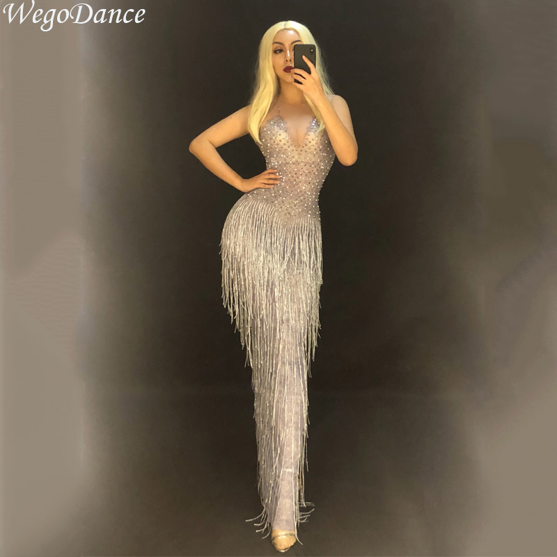 New Women Sexy Silver Tassel Full Sparkling Crystals Nightclub Party Stage Wear Singer Dancer Bling Costumes