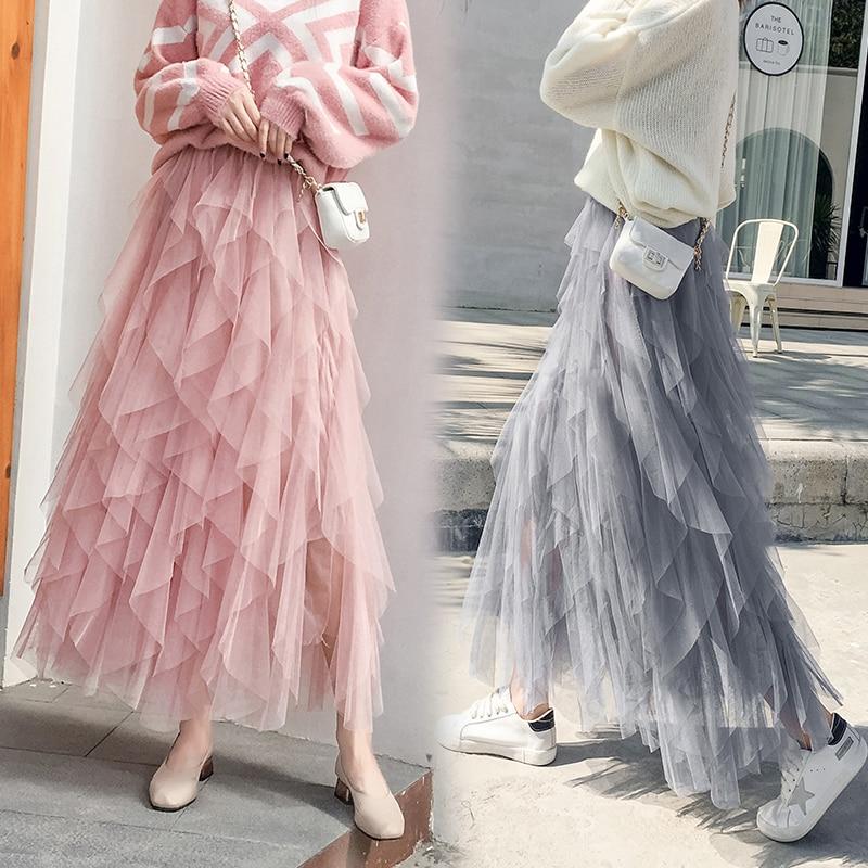 Fashion Tutu Tulle Skirt Women Long Maxi Skirt 2019 Spring  Korean Black Pink High Waist Pleated Skirt Female